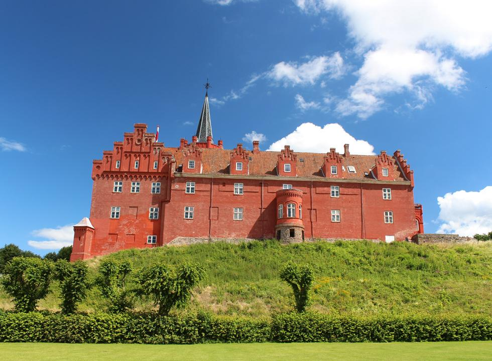The impressive castle, Tranekær Slot, from the 13th century is a popular excursion point