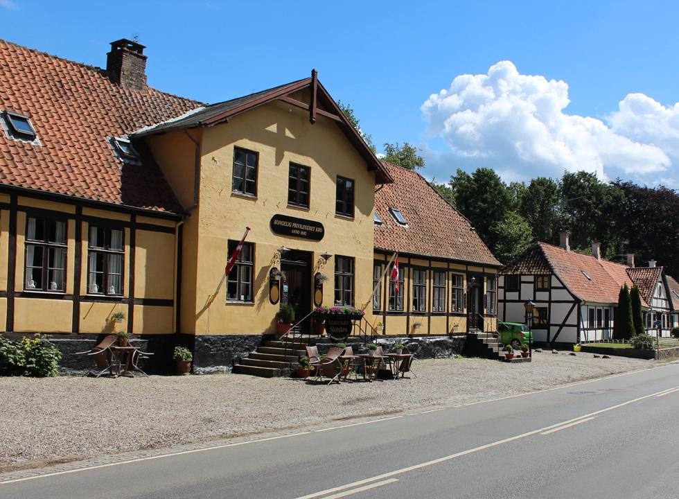 Royal Privileged inn in Tranekær, which contains many idyllic half-timbered houses