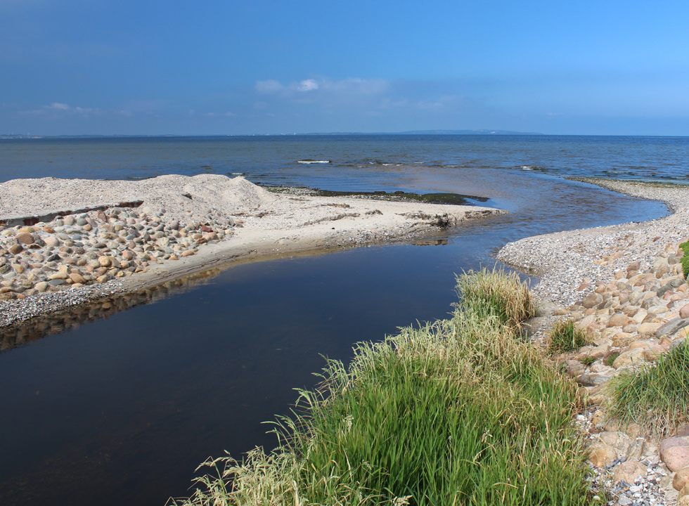 The outlet of the stream Trend Å into the Limfjord in the holiday area Trend