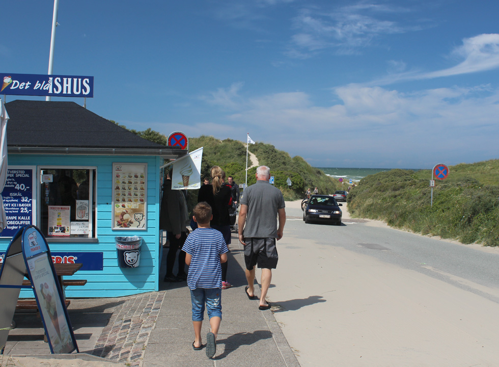 The blue ice cream house, which is situated right behind the dunes in Tversted