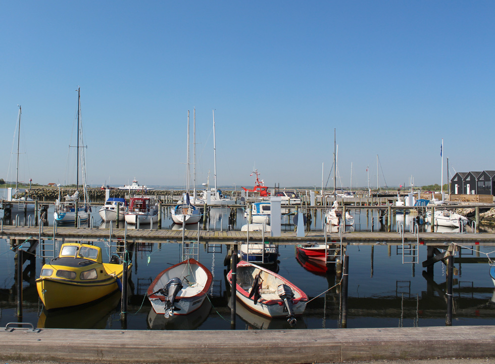 Cosy harbour with leisure boats in Udbyhøj