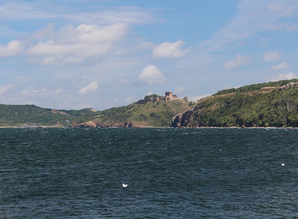 View of the castle ruin, Hammershus, from the harbour of Vang