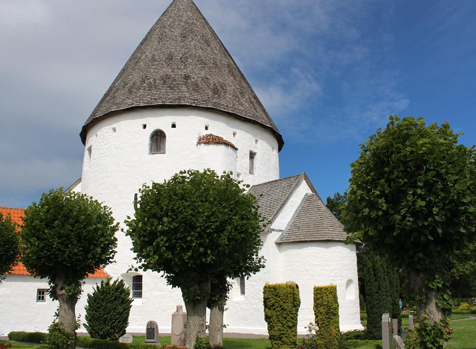 Experience the many details of the round church, Olsker Rundkirke, just 7 km from Vang