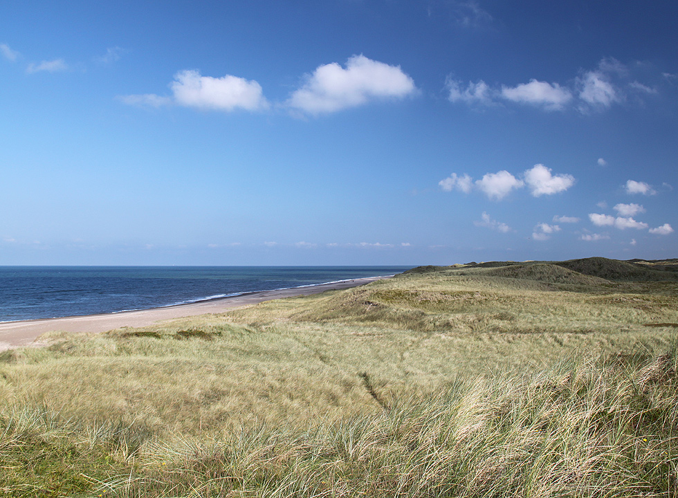 View of the dune landscape, the beach and the North Sea from the dunes of Vangså