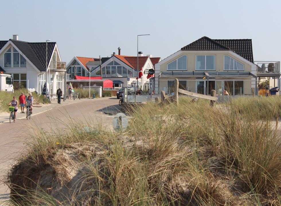 The main street in Vejers, which leads to the beach