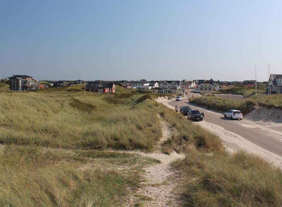 View towards the town of Vejers from the dunes by the beach