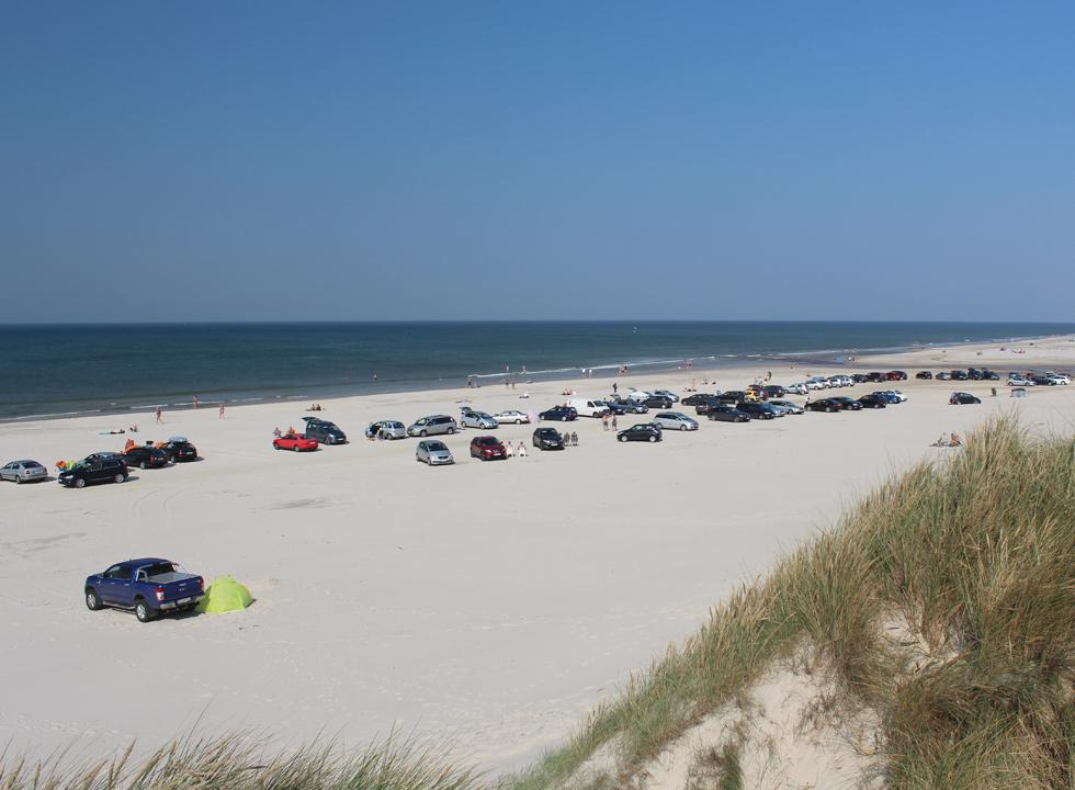 View of the beach in the holiday area Vejers from the dunes