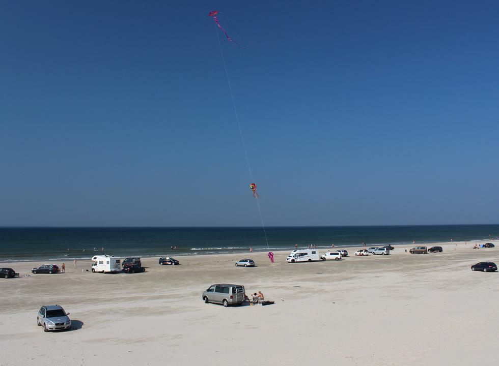 Kite on the beach in the holiday home area Vejers