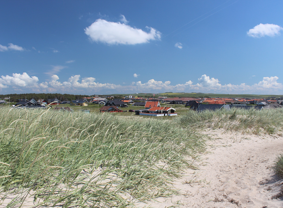 View of the holiday home area in Vejlby Klit from the high dunes of the beach
