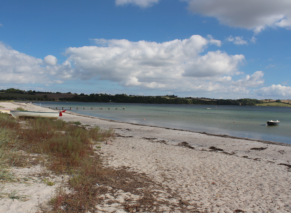 Lovely sandy beach with bathing jetty and clear bathing water in the holiday home area Vemmingbund