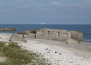 The bunkers are situated in the water's edge by the beach of Vigsø