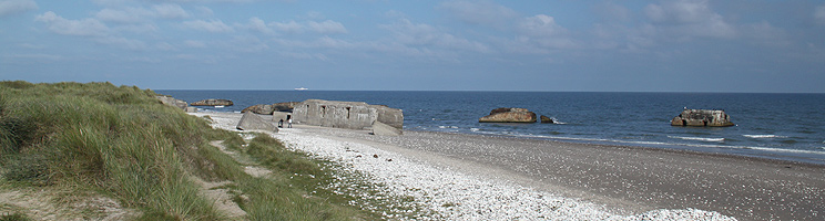 Beach with many bunkers in Vigsø