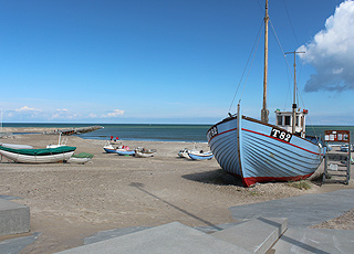 Fishing boats on the beach in Vorupor