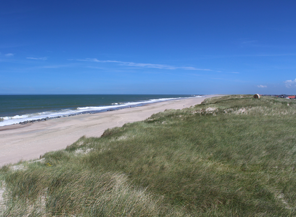 View of the beach and the dune landscape in Vrist from the high dunes
