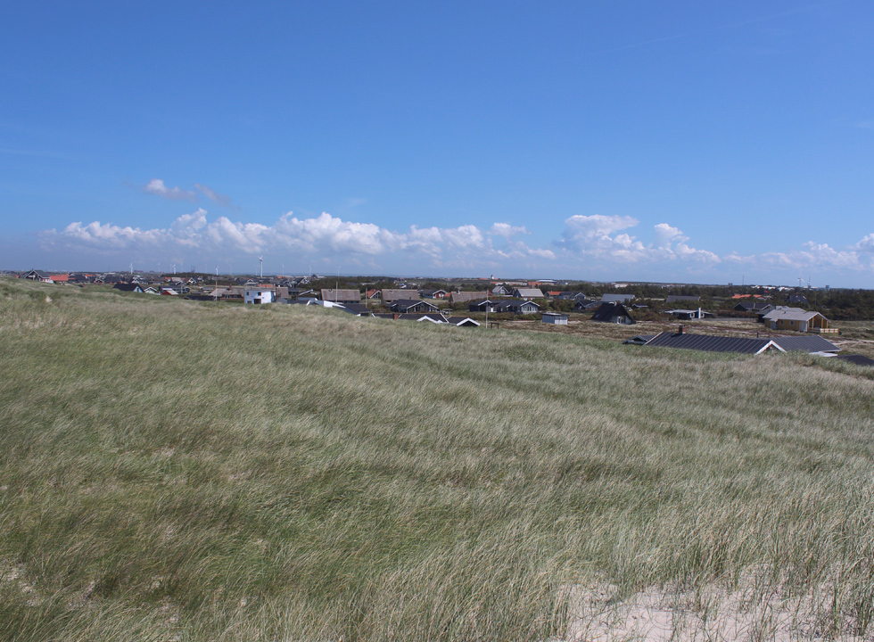 View of the holiday home area from the dunes in Vrist