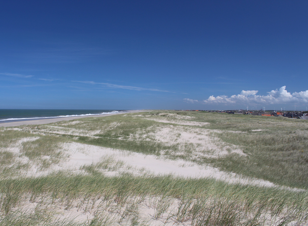 The hilly dune landscape between the beach and the holiday homes in Vrist