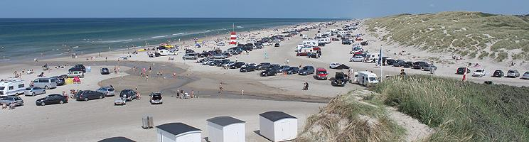 Summer and holiday atmosphere on the popular bathing beach in Blokhus
