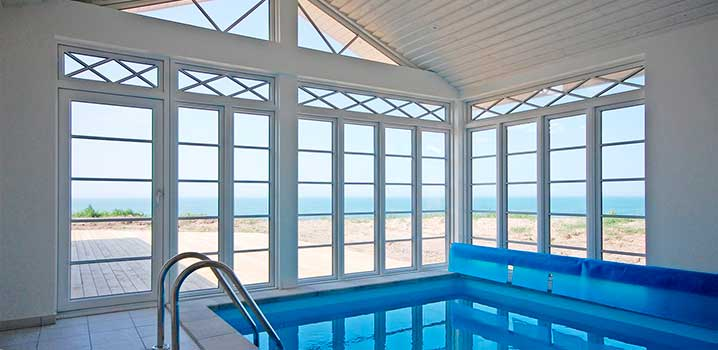 Swimming pool with scenic view of the North Sea
